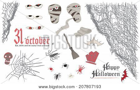 Halloween symbol elemens set. Skull, mummy, spider, broom, bat, spider, web bandage eyes Vintage style Vector illustration
