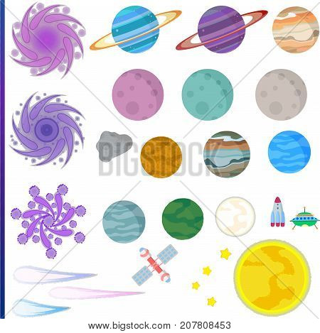 Isolated vector illustration of space. Planets asteroids