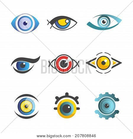 Eyes logo templates set of color graphic human eye with color flat pupil. Vector isolated eye icons for ophthalmology or optical medicine and art decoration or technology design element