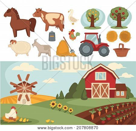 Farm or farmer agriculture household, cattle and farming tools vector icons. Vector flat vegetables harvest, cow or sheep pasture and fowl chicken in wheat barn or grain mill scenery