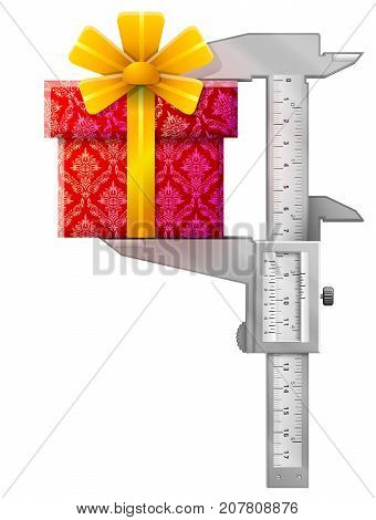 Vertical vernier caliper measures gift. Concept of gift box and measuring tool. Best vector illustration for holiday packaging supplies congratulation gift wrapping