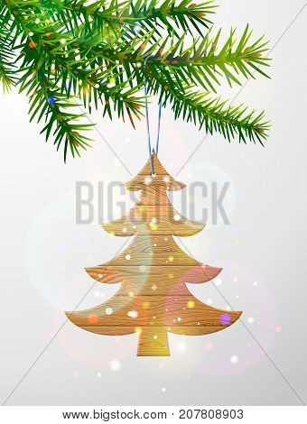 Christmas tree branch with decorative wooden pine tree. Wooden planks in shape of christmas tree hanging on pine twig. Vector image for christmas new years day decoration winter holiday tradition