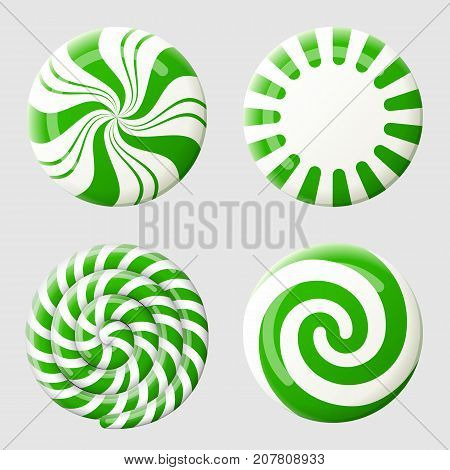 Christmas round candy set. Striped peppermint candies without wrapper. Best vector design element for christmas new years day dessert winter holiday sweet-stuff