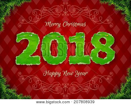 New Year 2018 of crumpled paper pinned pin. Paper numbers with torn edge surrounded by pine twigs. Vector illustration for new years day christmas winter holiday