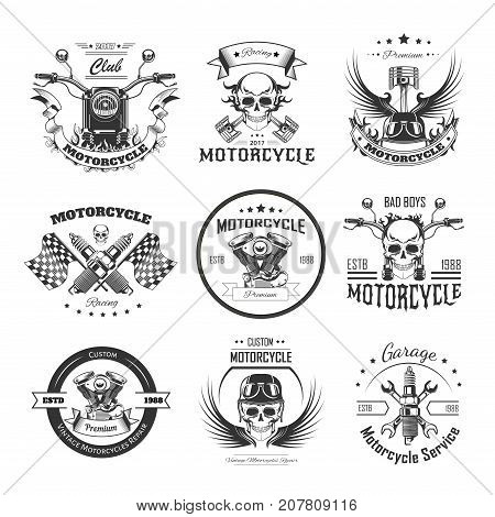 Motorcycle or bikers club logo templates for bike motor racing of skull and checkered finish flag, motorcycle piston and helmet wings for speed races. Vector retro design sketch icons set