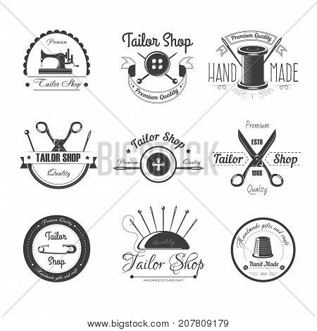 Tailor shop or dressmaker atelier and fashion dress tailoring designer salon vector logo template. Vector retro icons set sewing needle, button or thimble and tailor scissors, pin or stars and ribbon