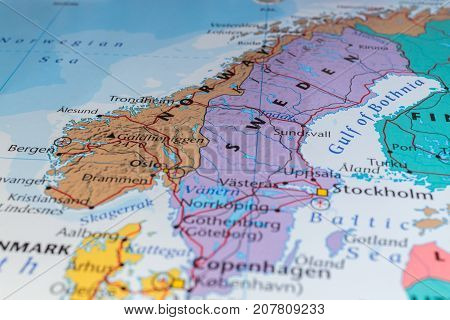 northern europe in atlas, the concept of travel.