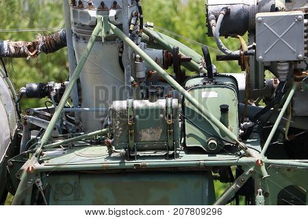 Close Up. World Second War Of Helicopter Rotor Engine Parts. Detail Short Of Fuselage, Roter And Eng