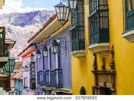 View on colorful colonial buildings in La Paz Bolivia