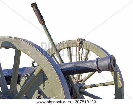 Ancient wheeled cast iron cannon isolated on white