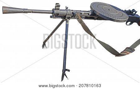 Soviet light machine gun on white background