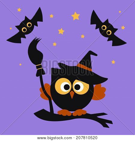 halloween illustration owl with broom on a tree branch owl bat and stars