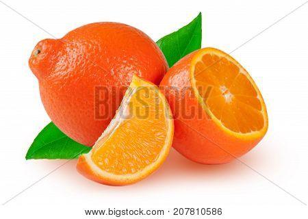 orange tangerine or Mineola with half slices and leaf isolated on white background.