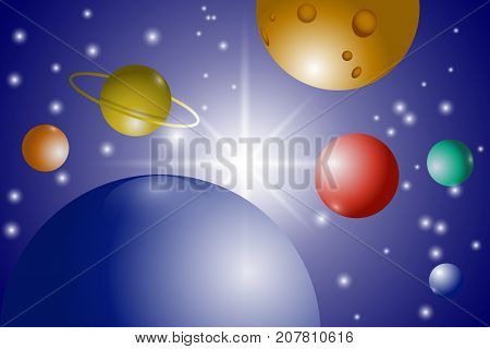 Space Universe Solar system. Planets and stars in space. Vector illustration EPS10