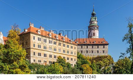 Castle of Cesky Krumlov in a sunny day. South Bohemia, Czech Republic.