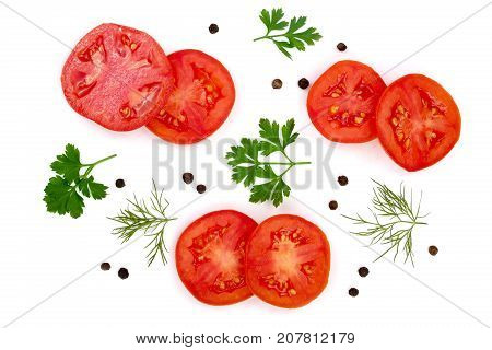 tomato slice with parsley leaves, dill and peppercorns isolated on white background. Top view.