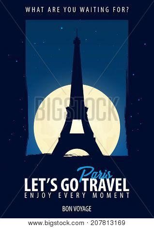 France, Paris. Time To Travel. Journey, Trip, Vacation. Moon Background. Bon Voyage.