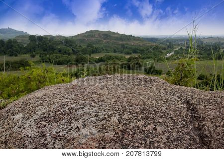 Beautiful Stone of mountain under blue sky. at Khao Chom Hae  Rayong Thailand