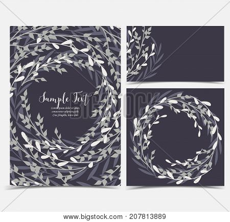 Vector illustration decoration of branches and leaves in a circle. Card invitations