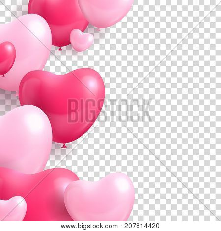 Air balloons form hearts transparent background template. Air balloons in the form of hearts template for card or banner. Romantic design as a vector illustration