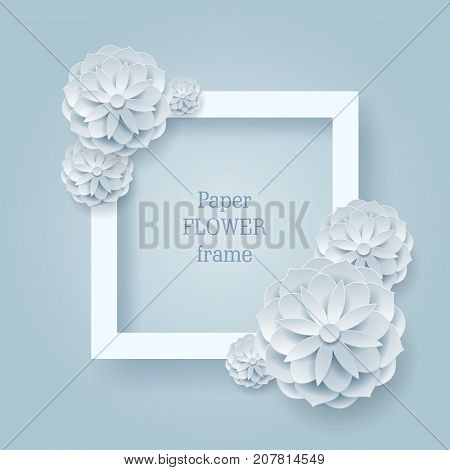 Paper flower square frame silver background. Paper flower square frame on a silver background. A few silver plants as a vector illustration