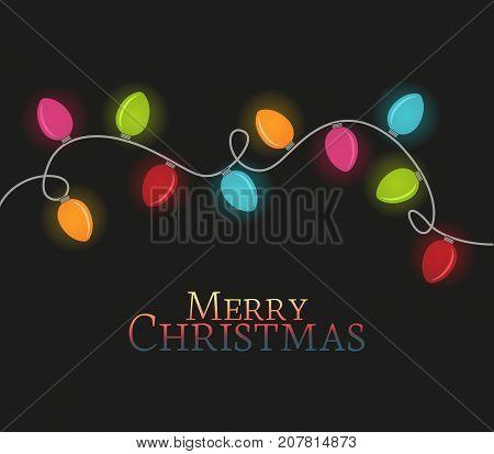 Vector illustration Christmas colorful lights on a dark background. String Lights.