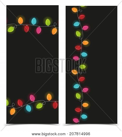 Vector illustration Christmas colorful lights on a dark background. String Lights.