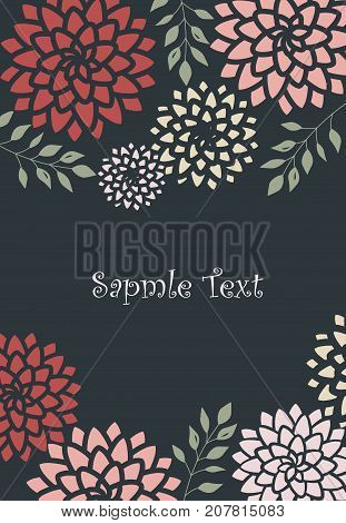 Vector illustration pink and red flowers on a dark background. Floral invitations
