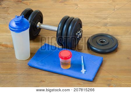 a set of things for playing sports next to the analysis for doping