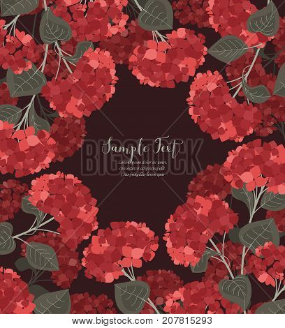 Vector illustration of hydrangea flower Background with red flowers