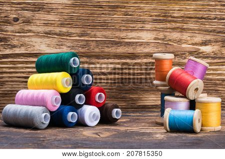 new different colors of thread in the set and a bunch of old threads nearby