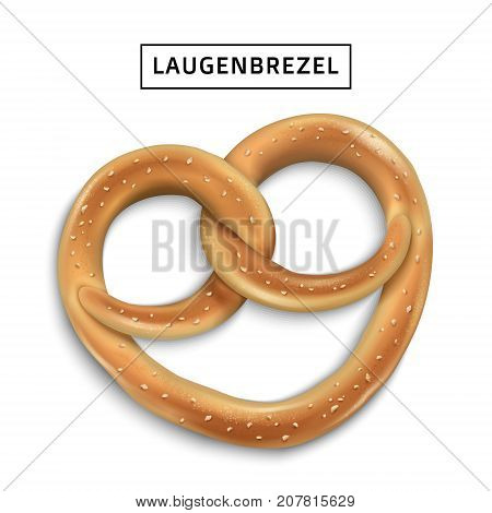 Pretzel snack element tasty traditional bread or cookie in 3d illustration isolated on white background laugenbrezel means traditional German pretzels