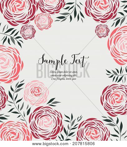 Vector illustration of ranunculus flower. Background with red flowers