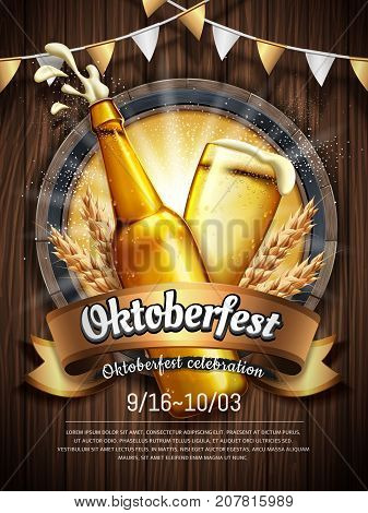 Attractive oktoberfest celebration Beer festival poster with refreshing beverage isolated on wooden plank oktoberfest means beer festival in German