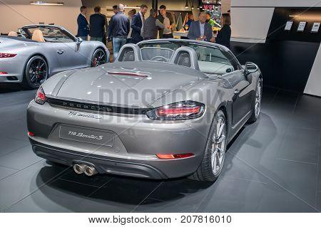 Frankfurt-September 20: Porsche 718 Boxster S at the Frankfurt International Motor Show on September 20 2017 in Frankfurt