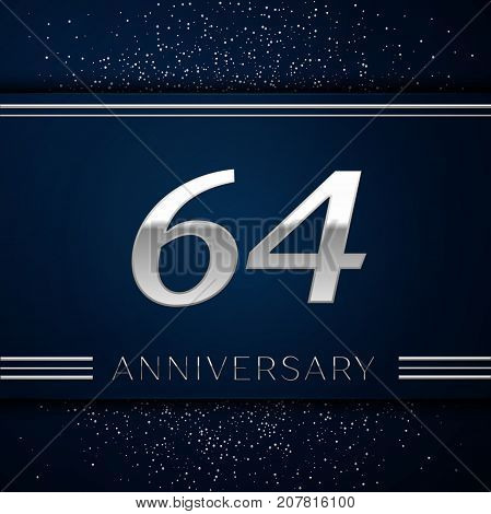 Realistic Sixty four Years Anniversary Celebration Logotype. Silver numbers and silver confetti on blue background. Colorful Vector template elements for your birthday party