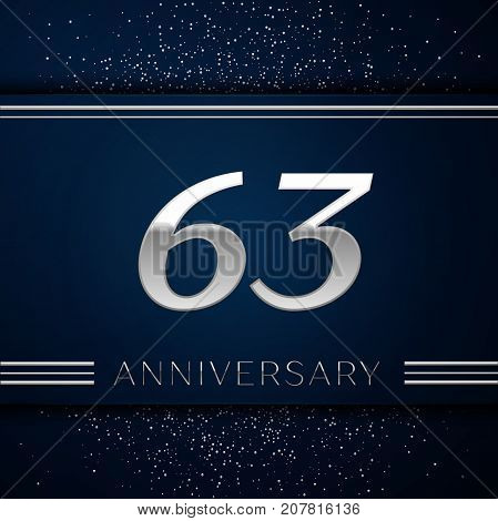 Realistic Sixty three Years Anniversary Celebration Logotype. Silver numbers and silver confetti on blue background. Colorful Vector template elements for your birthday party