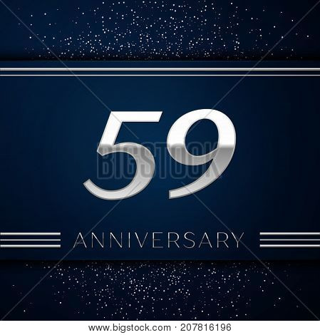 Realistic Fifty nine Years Anniversary Celebration Logotype. Silver numbers and silver confetti on blue background. Colorful Vector template elements for your birthday party