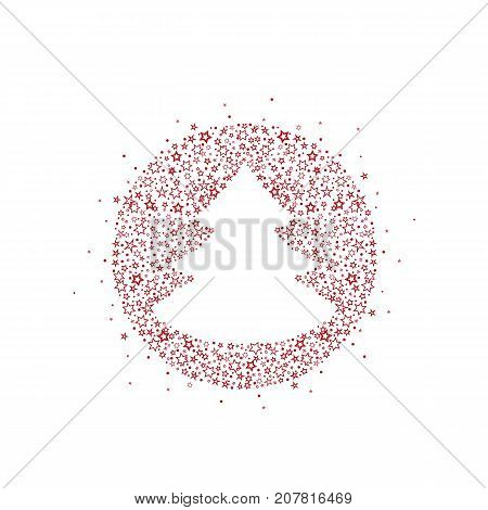 Vector illustration of a Christmas tree decoration made of stars. Happy Christmas greeting card.