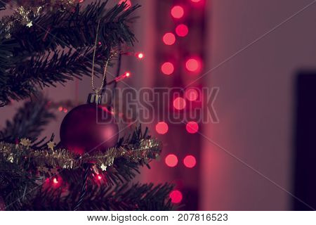Retro Image Of Festive Christmas Background With Red Baubles