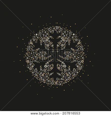 Vector illustration of a Christmas snowflake decoration made from stars. Happy Christmas greeting card.