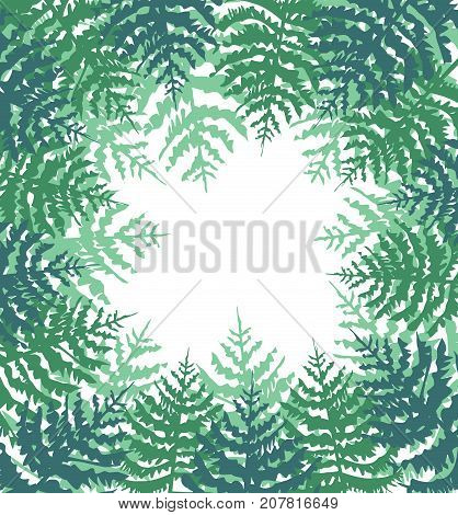 Vector illustration of a spruce forest. Background with green trees