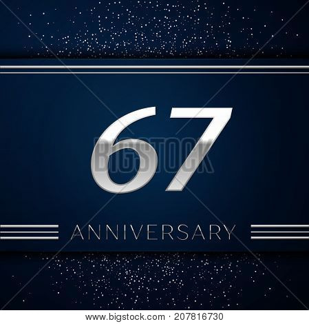 Realistic Sixty seven Years Anniversary Celebration Logotype. Silver numbers and silver confetti on blue background. Colorful Vector template elements for your birthday party