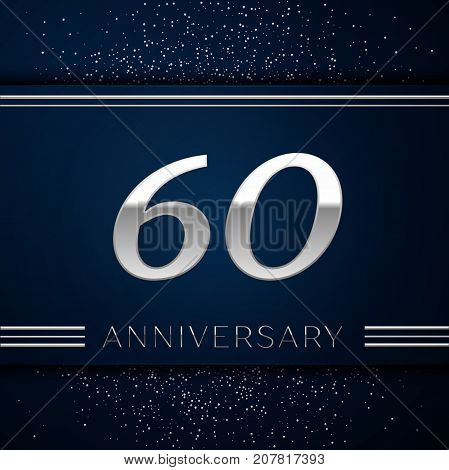 Realistic Sixty Years Anniversary Celebration Logotype. Silver numbers and silver confetti on blue background. Colorful Vector template elements for your birthday party