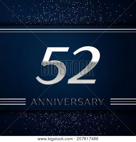 Realistic Fifty two Years Anniversary Celebration Logotype. Silver numbers and silver confetti on blue background. Colorful Vector template elements for your birthday party