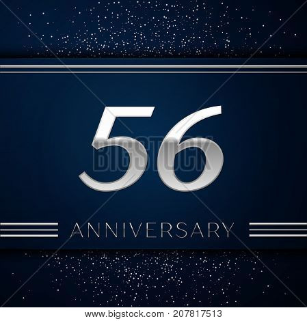 Realistic Fifty six Years Anniversary Celebration Logotype. Silver numbers and silver confetti on blue background. Colorful Vector template elements for your birthday party