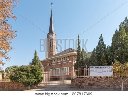 BARKLY WEST SOUTH AFRICA - JULY 7 2017: The Dutch Reformed Church in Barkly West a town in the Northern Cape Province of South Africa