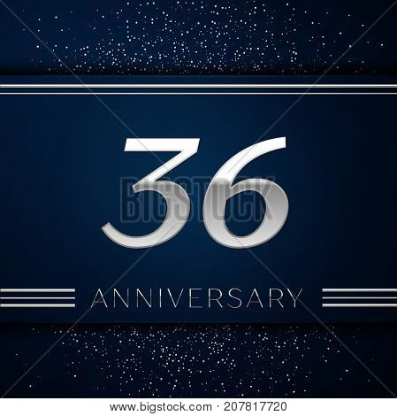 Realistic Thirty six Years Anniversary Celebration Logotype. Silver numbers and silver confetti on blue background. Colorful Vector template elements for your birthday party