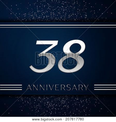 Realistic Thirty eight Years Anniversary Celebration Logotype. Silver numbers and silver confetti on blue background. Colorful Vector template elements for your birthday party