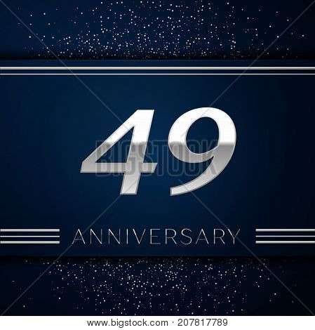 Realistic Forty nine Years Anniversary Celebration Logotype. Silver numbers and silver confetti on blue background. Colorful Vector template elements for your birthday party
